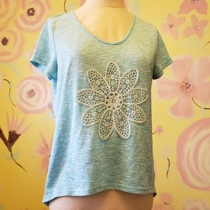 Aeropostale Sea foam Blue Tee Flower applique